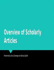 Overview of Scholarly Articles