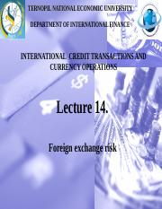 14. FOREIGN EXCHANGE EXPOSURE  MANAGEMENT