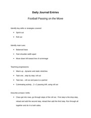 football snap, handling, & pitch journal