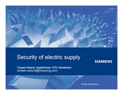 Security of electric supply 2009