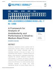 Philippine EJournals_ A Framework for Analysis of Ambidexterity and Performance in Small-to-Medium-S