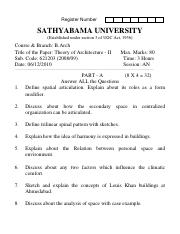 (www.entrance-exam.net)-Sathyabama University-B.Arch 2nd Sem Theory of Architecture II Sample Paper