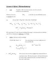 Lecture 6 Notes Thermochemistry
