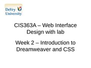 CIS363A - Web Interface with lab Week 2