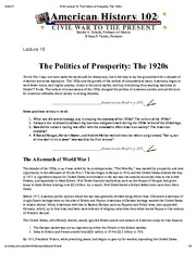 H102 Lecture 15_ The Politics of Prosperity_ The 1920s