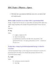 HSC Topic 1 Physics - Space Notes