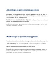 Advantages of performance appraisal