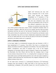 APPLE AND SAMSUNG NEGOTIATION