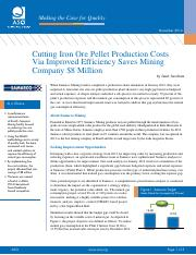 case - Management and Planning Tools - Iron Ore Pellet Production