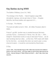 Key Battles during WWI1