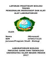 Mirnawati Biologi 4 Docx Laporan Praktikum Biologi Tekins Pengenalan Mikroskop Dan Alatalat Laboratorium Oleh Nama Mirnawati Nim 0704173125 Course Hero