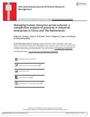 Managing human resources across cultures a comparative analysis of practices in industrial enterpris