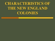 CHARACTERISTICS OF THE NEW ENGLAND COLONIES