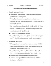 Lecture 1 on Probability and Random Variable Primer