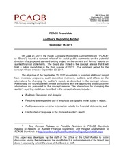 PCAOB Briefing Paper on new Auditor Report