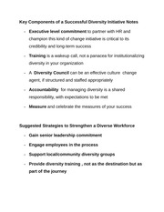 Key Components of a Successful Diversity Initiative Notes