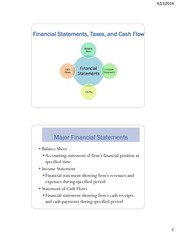 Financial Statements, Taxes and Cash Flow Notes
