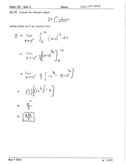 Math 122 Quiz 5 Version 1 Solutions