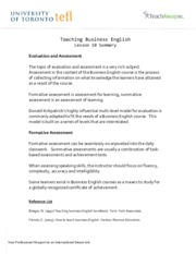 Teaching Business English - Lesson 10 Summary