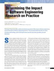 Osterweil, Ghezzi, Kramer, and Wolf - Determining the Impact of Software Engineering Research on Pra