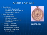 AS101 Lecture 8