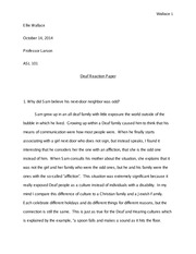 deaf culture book essay