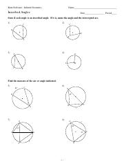 ... -Inscribed Angles - Kuta Software - Infinite Geometry Name_ Inscribed