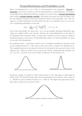 Notes Normal Distributions and probabilities