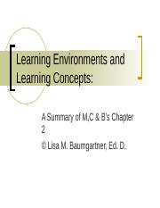 Week 2 PPT - Chapter 2  Learning Environments and Learning Concepts.ppt