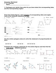 Similar Figures Worksheet 3 Doc Geometry Worksheet 7 2 7 3