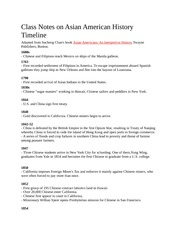 Class Notes on Asian American History Timeline