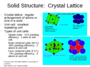 Chapter 11 Solid Structure and 12 Solubility