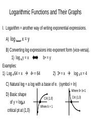 5A  Notes Logarithmic Functions and Their Graphs