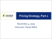 Nov 4 - Pricing Strategy, Part II
