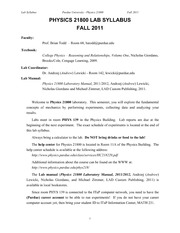 PHYS218L_Lab_Syllabus_fall2011