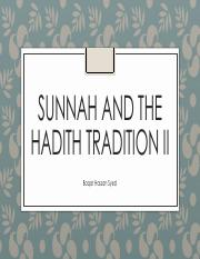 Session 6 Sunnah and the Hadith Tradition II.pdf