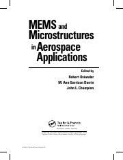 MEMS and Microstructures in Aerospace Applications - Robert Osiander et al (Eds)