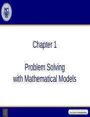 Chapter 1 - Problem Solving with Mathematical Models