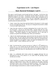 Lab Report 1 - Bacterial Tech I and II f15