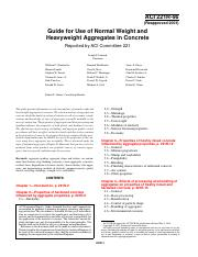 Guide for Use of Normal Weight and Heavyweight Aggregates in Concrete ACI 221R-96