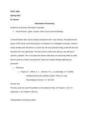 PSYC 4325 Notes on Information Processing