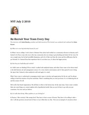 rerecruit  your team every day NYT July 2 2010