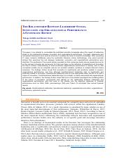 THE RELATIONSHIP BETWEEN LEADERSHIP STYLES,INNOVATION AND ORGANISATIONAL PERFORMANCE - A SYSTEMATIC