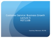 RST 110 Lecture 5: Business Growth