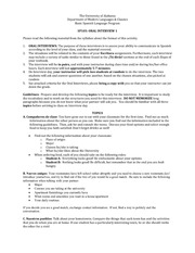 Oral Interview 1 Study Guide