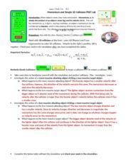 virtual lab - Physics G Unit 7 Momentum Internet Lab ...