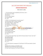 (www.entrance-exam.net)-SSC CPO Sub Inspector Exam General Awareness Sample Paper 3