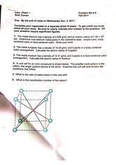 Problem Set 8 Metals Questions and Answers