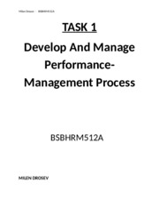 TASK 1  DEvelop and manage P-M processes