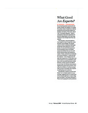 HBR+Feb+2008+-+What+Good+Are+Experts